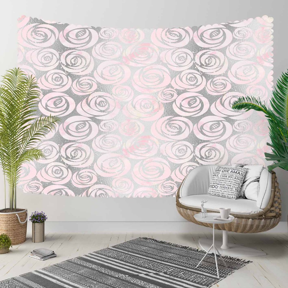 Else Pink Gray Vintage Roses Floral Flowers Nordec 3D Print Decorative Hippi Bohemian Wall Hanging Landscape Tapestry Wall Art