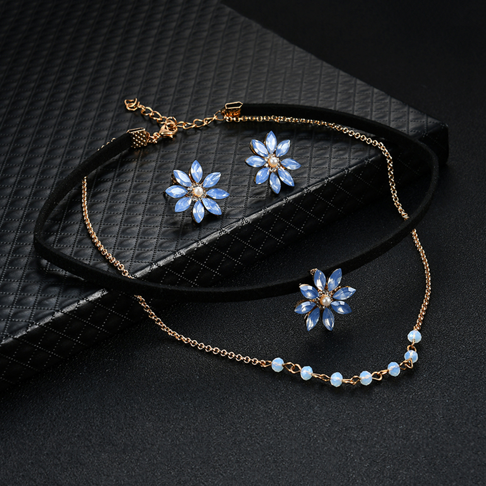 2017 Double Layer Chain Choker Collar Flower Rhinestone Bead Earring Necklace Jewelry