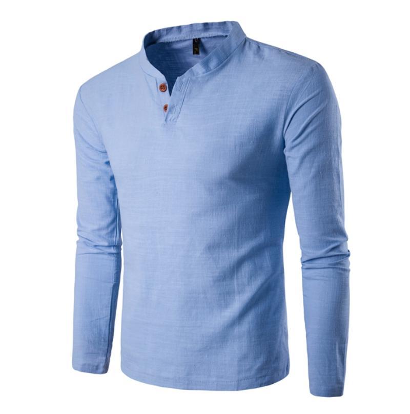 Button   T     Shirt   Men Slim Fit Long Sleeve   Shirts   Solid   T  -  shirt   Linen Tee   Shirt   Casual Top Blouse