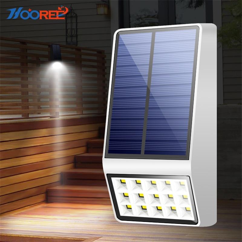 HOOREE Solar Garten Im Freien Licht Radar Motion Sensor Led Licht Mikrowelle Induktion Wasserdichte IP65 Wand Zaun Decor Solar Lampe
