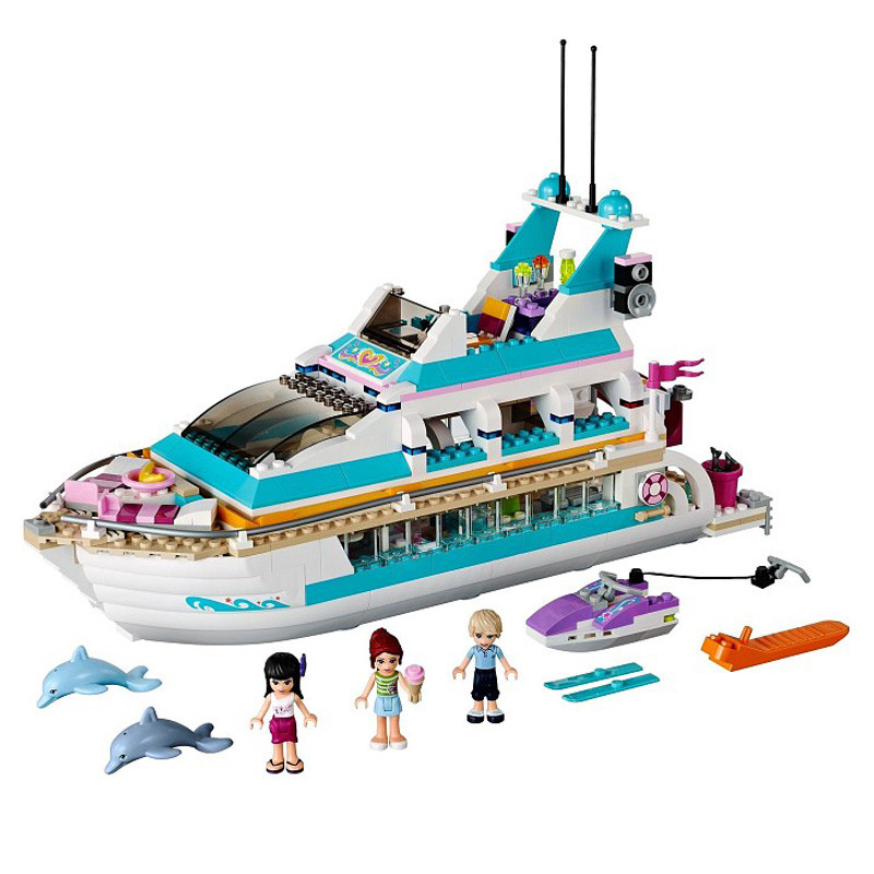 661pcs Building blocks Dolphin Cruiser Vessel Ship Brick figure toys for children Compatible With LegoINGly Friends 8 in 1 military ship building blocks toys for boys