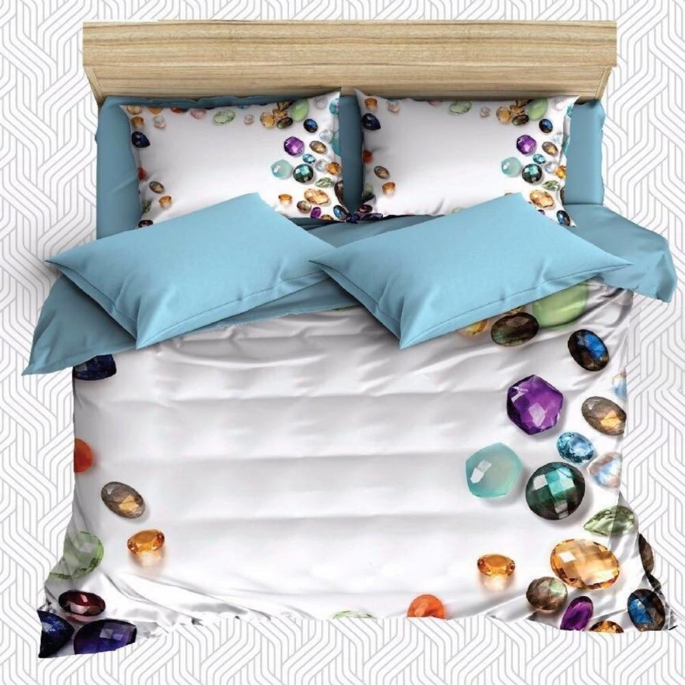 Autre 6 pièces bleu Foor violet jaune diamant bijoux impression 3D coton Satin Double housse de couette literie ensemble taie d'oreiller drap de lit