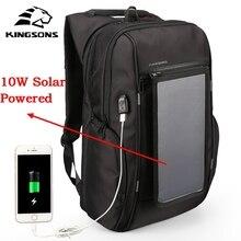 "Kingsons Brand Men Backpack 10W Solar Powered Backpack Usb Charging Anti-Theft 15.6"" Laptop Backpack for Men Laptop Bagpack Bag"