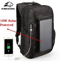 Kingsons Brand Men Backpack 10W Solar Powered Backpack Usb Charging Anti Theft 15.6'' Laptop Backpack for Men Laptop Bagpack Bag