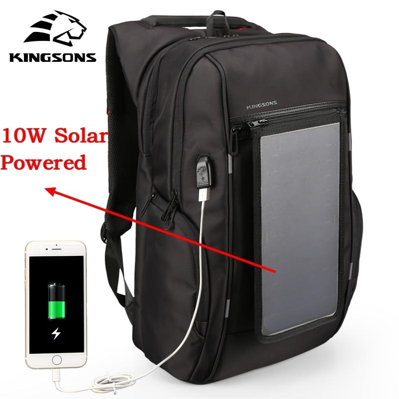 Kingsons marque hommes sac à dos 10 W solaire alimenté sac à dos Usb charge antivol 15.6 ''sac à dos pour ordinateur portable pour hommes sacoche pour ordinateur portable sac