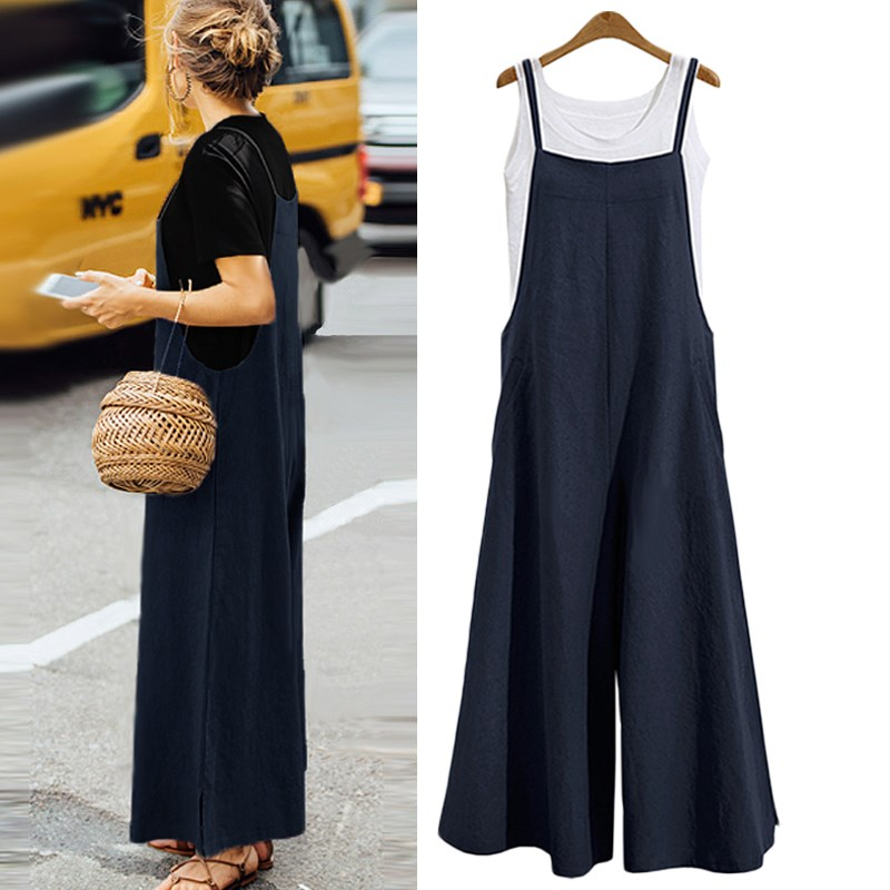 Plus Size New Women Cotton Linen Pockets Long Wide Leg Romper Strappy Dungaree Bib Overalls Casual Loose Solid Jumpsuit Trousers