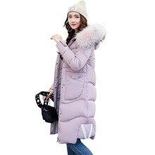 Новые Зимнее Пальто Женщин Длинный Жакет Толстая Куртка Хлопка С Капюшоном Теплый Большой Меховой Воротник Пальто Верхняя Одежда