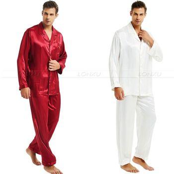 Męska jedwabna satynowa piżama zestaw piżama zestaw piżam PJS zestaw bielizna nocna Loungewear S M L XL 2XL 3XL 4XL _ _ idealne prezenty tanie i dobre opinie Mężczyźni Piżamy Skręcić w dół kołnierz M713 Pełna LONXU Przycisk fly Stałe Lycra Jedwabiu Casual
