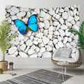 Else Gray White Pebble Stones on Blue Butterfly 3D Print Decorative Hippi Bohemian Wall Hanging Landscape Tapestry Wall Art