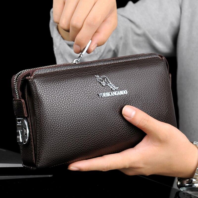 Yueskangaroo бренда пу кожи высокого качества мужские длинные паролем кошелек портмоне Винтаж дизайнер мужской carteira кошельки