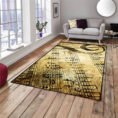 Else  Yellow Brown Vintage Notes Music 3d Print Non Slip Microfiber Living Room Decorative Modern Washable Area Rug Mat