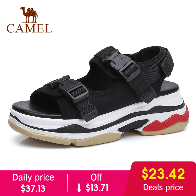 CAMEL Casual Sandals High Rise Buckle Flat Wild Breathable Shoes Women 2018 Summer New Wedges Sandals Fashion Sapato Feminino
