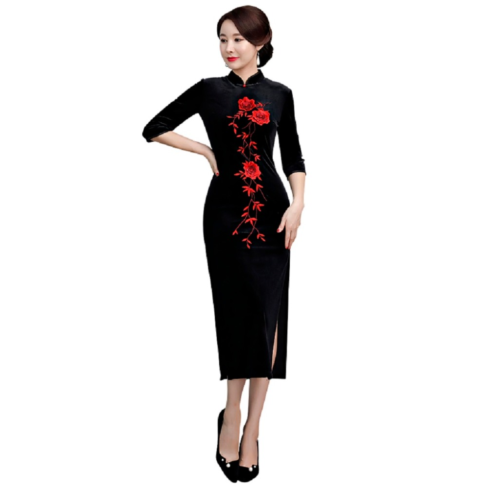 683d8785a22292 Pour Chinoise Longue Histoire Chinois Shanghai rouge Broderie Femme ...