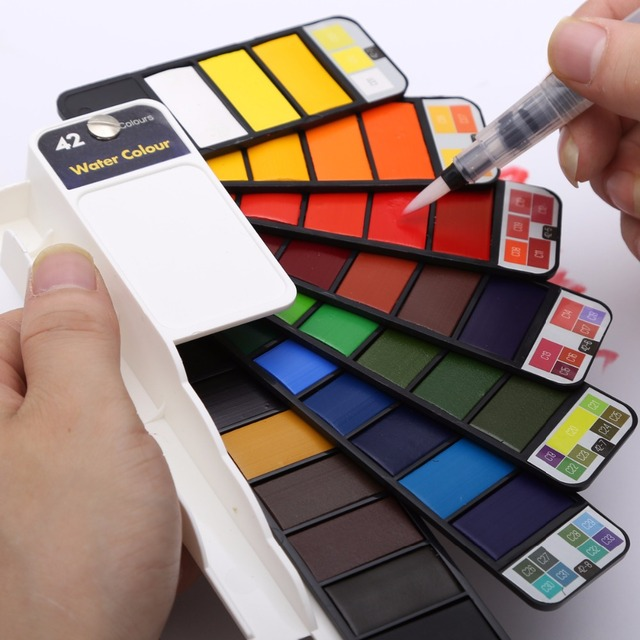Portable 18/25/33/42 Colors Solid Watercolor Paint Set with Water Brush