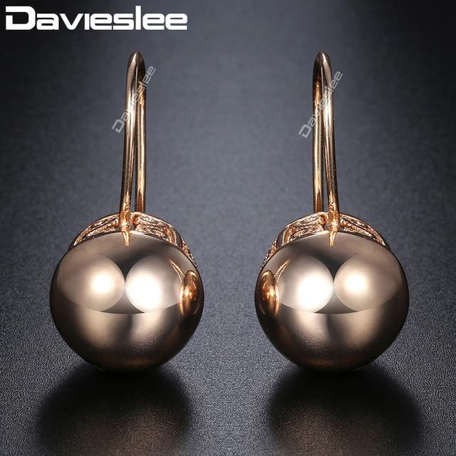 Davieslee Sfera Rotonda Delle Donne Della Signora Orecchini con perno Chiusura A Scatto 585 In Oro Rosa Riempito DGE66