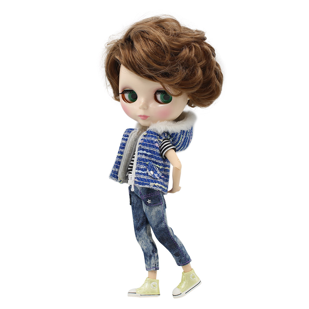 Blyth 1 6 Nude Doll MALE joint body with Short Brown side parting Hair glossy face