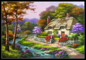 Spring Cottage II - Counted Cross Stitch Kits - DMC Color DIY Handmade Needlework for Embroidery 14 ct Cross Stitch Sets