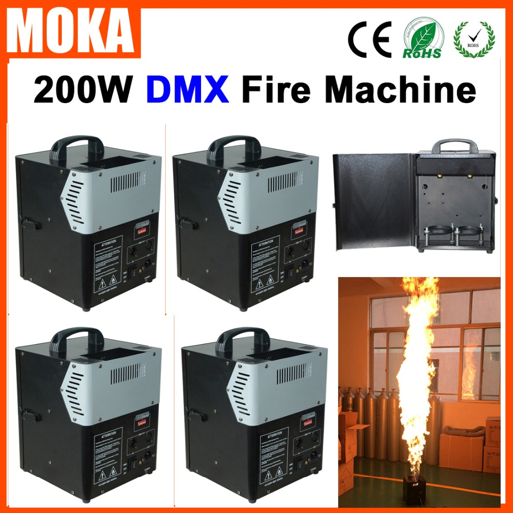 цена на 4pcs/lot new arrival 200W spray Fire Machine DMX Flame Spray Projector Machine Stage Fire Special Effect Equipment