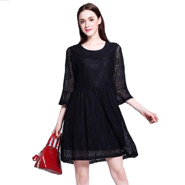 Hot Sale Women Plus Size Fall Dresses Loose Solid Colour Lace Dress