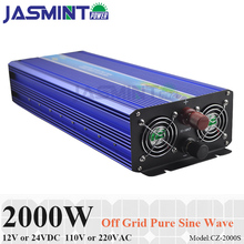 2000W Off Grid Pure Sine Wave Inverter, Surge Power 4000W 12V/24VDC to 110V/220VAC Single Phase Solar or Wind Power Inverter whm 2000 241 2000w 24vdc to ac 110v modified sine wave solar inverter