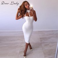 Deer Lady Fabulous February Sale (5 Days Delivery ) Bandage Dress 2019 White Women Dress Bandage Bodycon Sexy Cut Out Backless