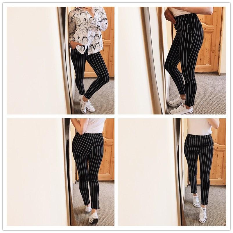 SHEIN Vertical Striped Skinny Pants Women Elastic Waist Pocket OL Style Work Trousers 18 Spring Mid Waist Long Pencil Pants 7