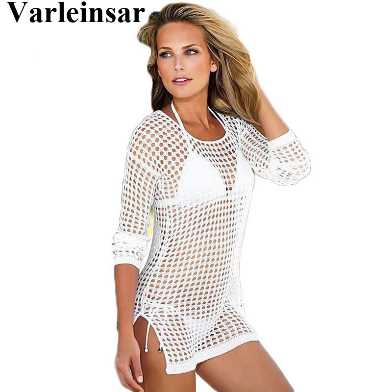 f798ce5b66 Bather See Through Sexy Women Swimwear Female Knitted Crochet Cover-ups  Beach Cover Ups Beach Dress Beach Wear Beachwear V96