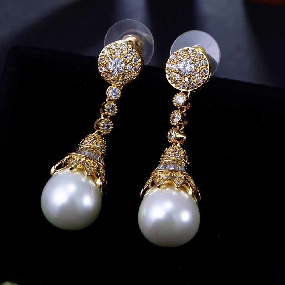 DreamCarnival1989 nouveau luxe élégant Imitation perles cubique zircone couleur or collier ensemble de bijoux de mariée pour les femmes SN02436S4G - 4