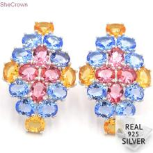 Real 6.76g 925 Solid Sterling Silver Multi Color Pink Tourmaline Citrine Tanzanite Ear Stud Earrings 34x23mm