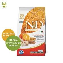 N&D Low Grain Cat Codfish & Orange корм для взрослых кошек, Рыба и апельсин, 1,5 кг.