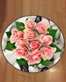 Еще белые красные цветы розы Цветочный зеленый лист 3d Рисунок противоскользящие назад круглые ковры ковер для гостиной ванной комнаты