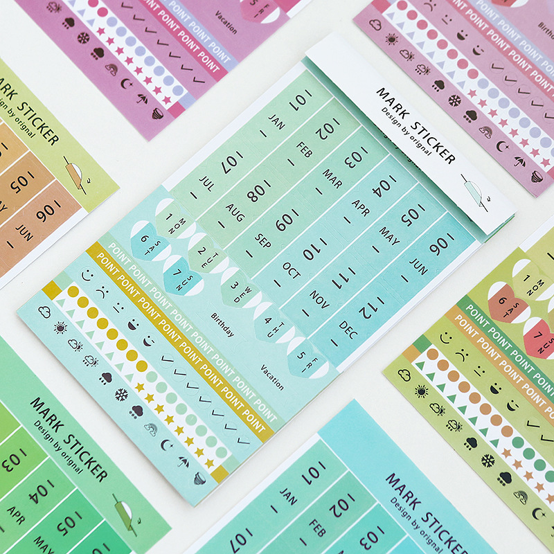8 Pcs PVC + Paper Stationery Sticker Date Mark Index Sticker DIY Planner Diary Decoration Ornament Mark Month Memo Weather