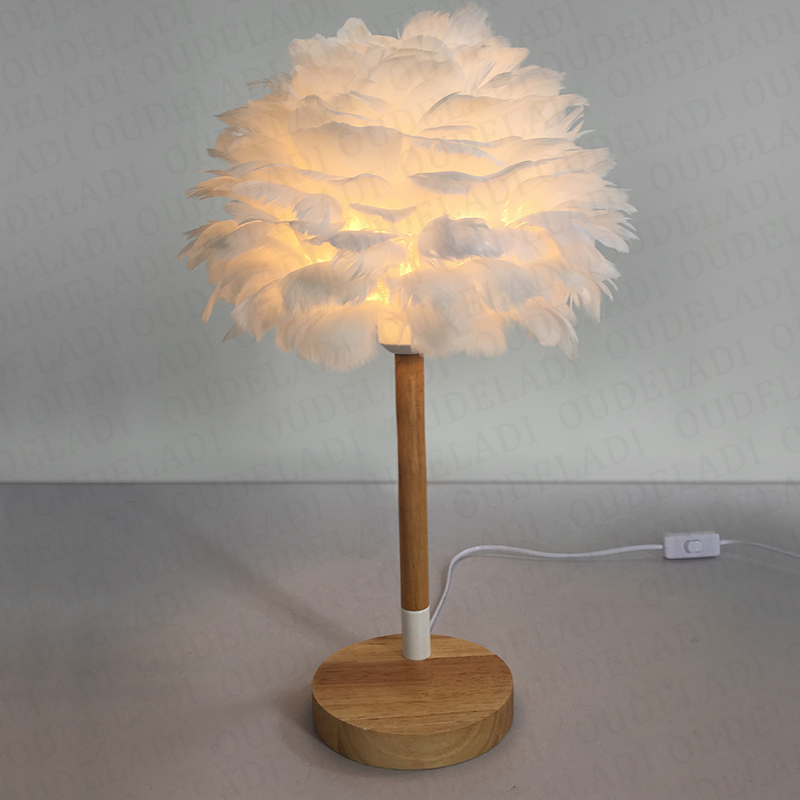 Valentine Feather Shade Table Lamp White Elegant Night Light Bedside Lampshade