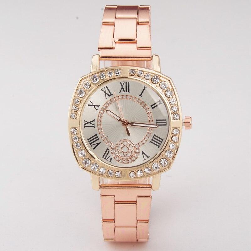 Fashion Roman Rhinestone Watch Women Casual Roman Numeral Watch For Women Gold Steel Quartz Wrist Watch relogio Saat erkekler