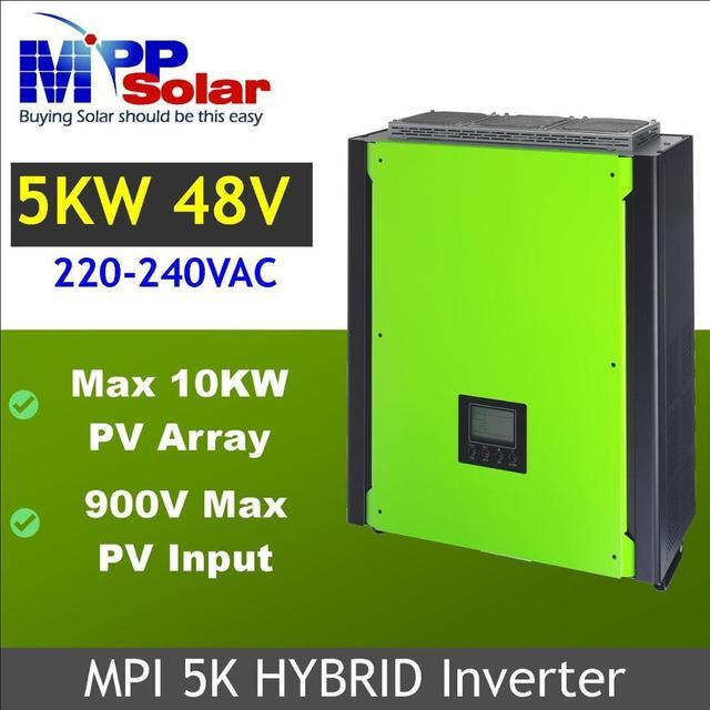 (MPI) 5000w híbrido rejilla inversor solar atado inversor Solar + fuera de la red solar inversor, entrada máxima PV 900vdc, paralelo able característica