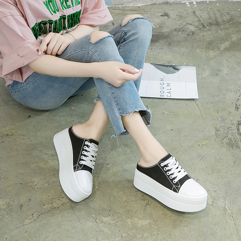 women canvas shoes Lace-up Casual Shoes Flat platform shoes height increasing sneakers Woman white black loafers slippers MC-10women canvas shoes Lace-up Casual Shoes Flat platform shoes height increasing sneakers Woman white black loafers slippers MC-10