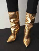 Moraima Snc Hot Selling Gold Metallic Leather High Heel Boots Sexy Pointed Toe Knee High Boots Woman Runway Fashion Shoes