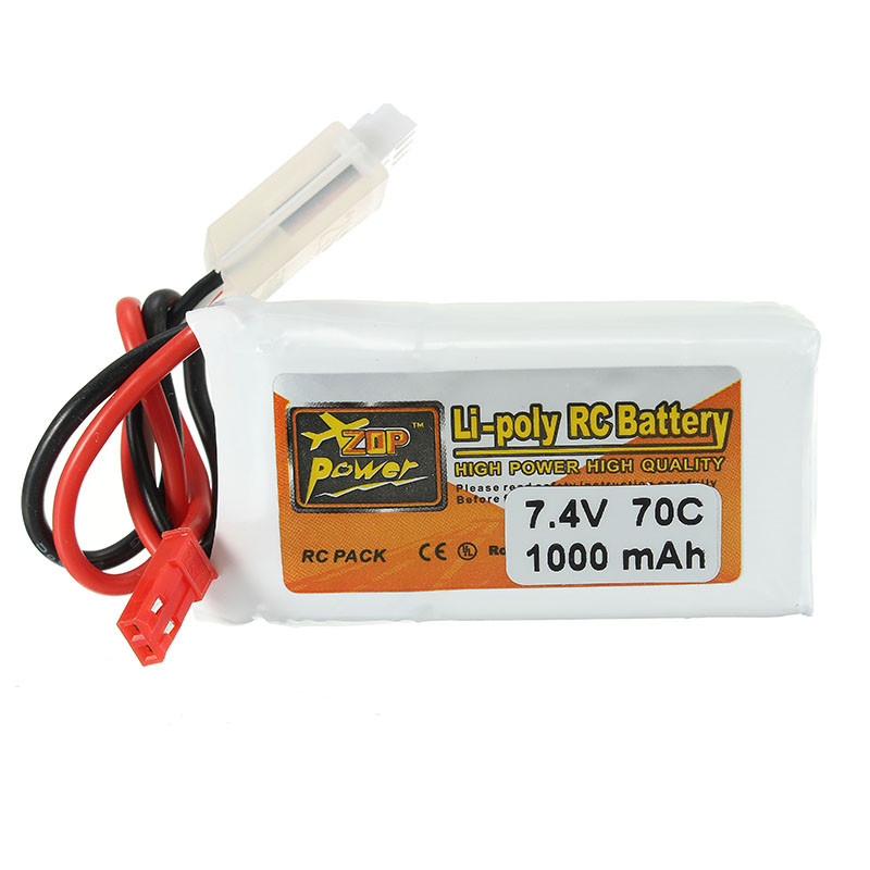 ZOP Power 7.4V 1000mAh 70C 2S Lipo Battery With JST Plug