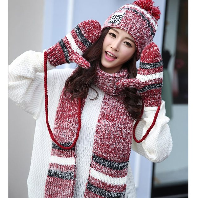 05c505e7167 3pcs set Women Crochet Scarf Hat Gloves Striped Winter Warm Knitting Cotton  Wool Mittens Wraps