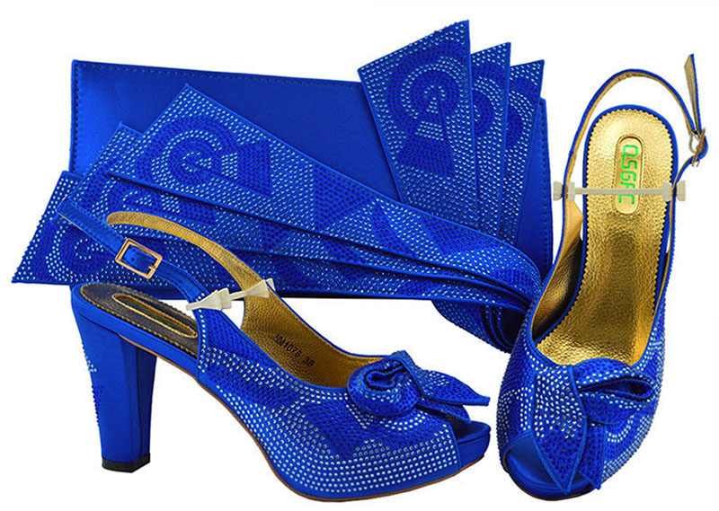 4 inches african wedding party aso ebi italian shoes and bag in royal blue fashion shoes and bag matchign set women SB8259-8 все цены