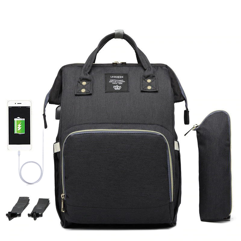 Upgrade Lequeen Nipple Bottle And Straps Set USB Interface Mom Backpack Travel Nursing Bag Baby Diaper Bag For WaterProof !