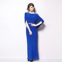 Spring and autumn new blue dresses women's 2018 temperament fashion split beautiful maxi slim dress