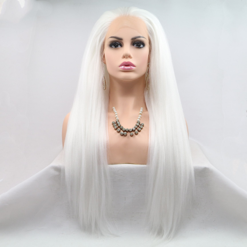 Marquesha Natural Hairline White Yaki Resistant Fiber Synthetic Lace Front Wigs For Women