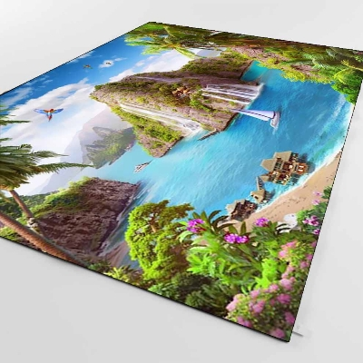 Else Tropical Island Sea Side Nature Mountain 3d Print Non Slip Microfiber Living Room Decorative Modern Washable Area Rug Mat