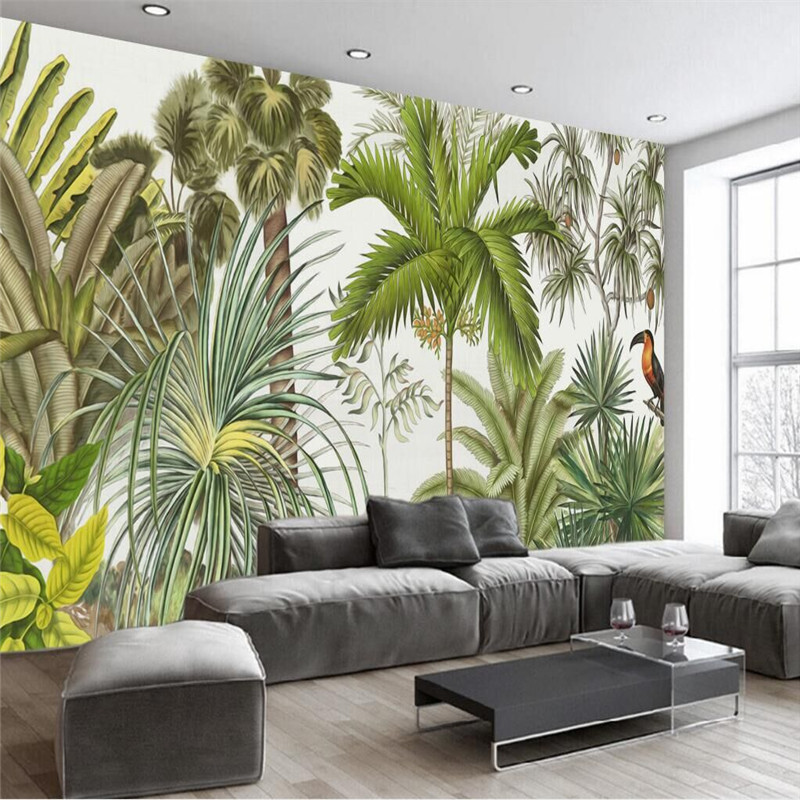 European retro tropical rainforest living room wall Professional production of wallpaper murals custom photo wall in Wallpapers from Home Improvement