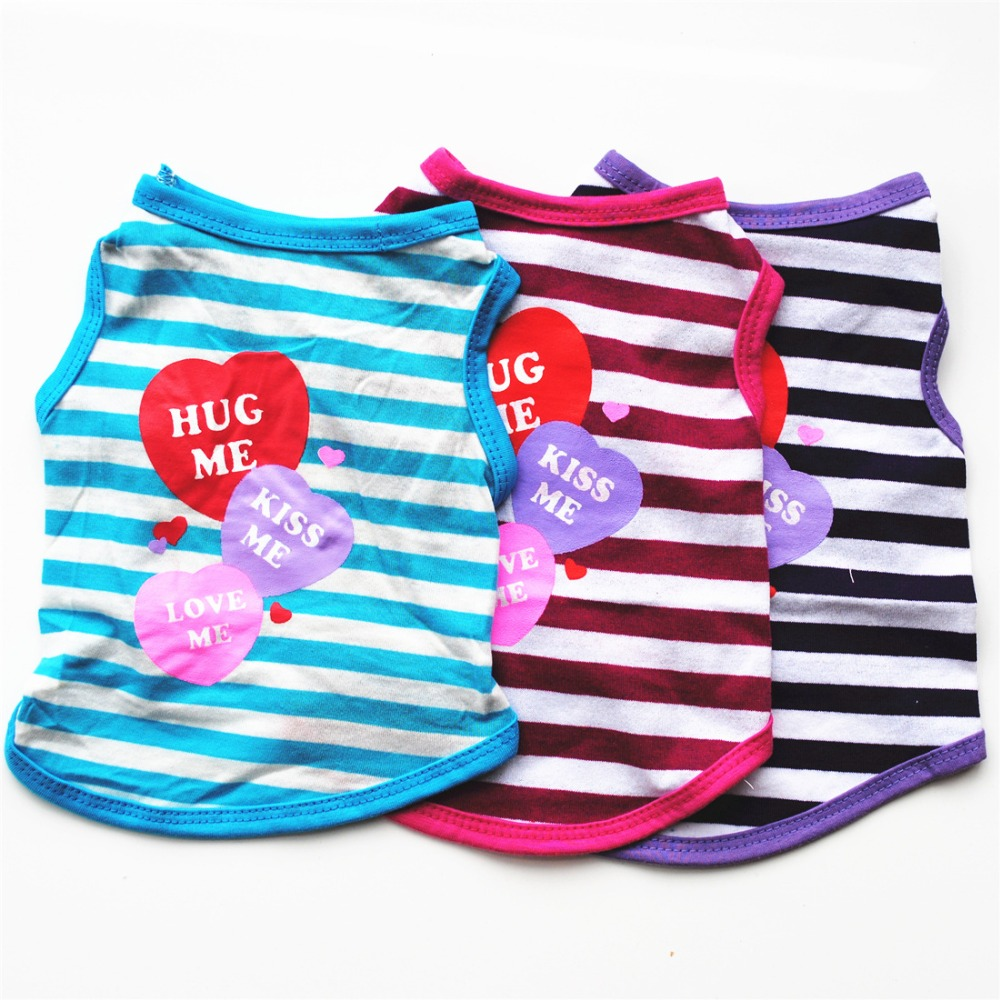 Dog Clothes Stripe Cooling Vest Clothes Summer T shirt For Dogs Cats Puppy yorkshire Terrier For Chihuahua T-shirts Tee Vest E