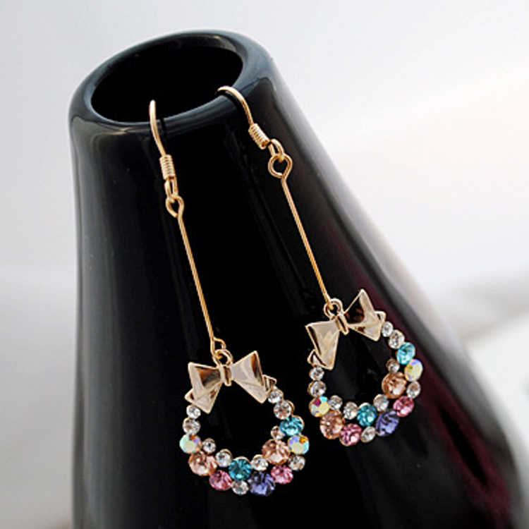Womens Elegant Colorful Crystal Rhinestone Bow Bowknot Pendent Dangle Earring Fashion Jewelry Drop Shipping