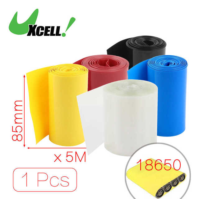 US $7 87 10% OFF|Uxcell 5Meters 85Mm Width PVC Heat Shrink Wrap Tube Blue  For 18650 Battery Pack Black Blue Clear Red Yellow Heat Shrink Tubing-in