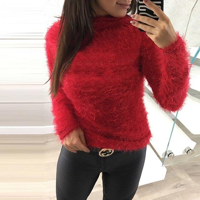 e4e4464fe1fb ZANZEA 2018 Winter Leisure Turtleneck Long Sleeve Plush Fluffy Jumper Knit  Pullover Women Fashion Solid Slim Fit Party Sweaters
