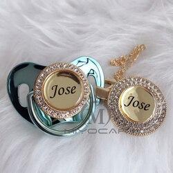 Miyocar personalizado qualquer nome 11 colares azul ouro bling chupeta e chupeta clipe bpa manequim livre bling design original p10